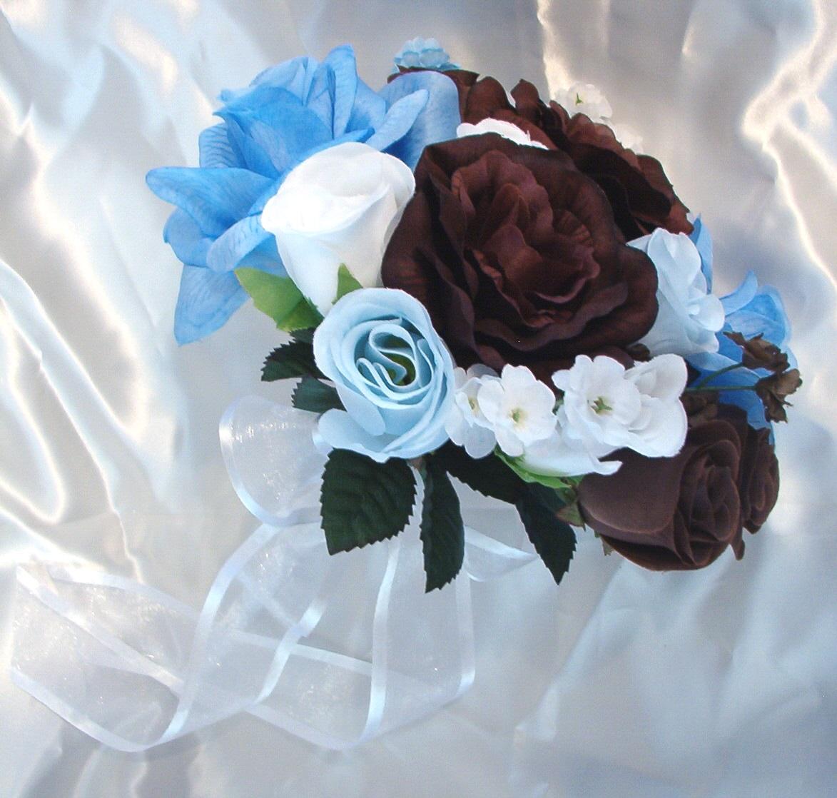 Blue Brown Wedding Bouquets : Silk wedding flowers bridal bouquets